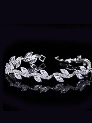 Simple Fashion Leaves Shaped Zircons Women Bracelet