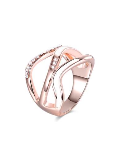 Delicate Rose Gold Plated Rhinestone Enamel Women Ring