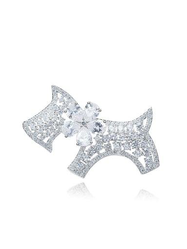 High-grade Little Dog Shiny Zircon Brooch