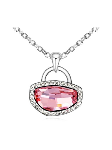 Simple Shiny Swarovski Crystals-covered Lock Pendant Alloy Necklace