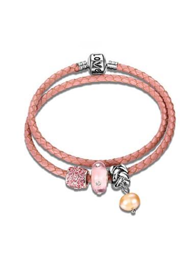 Pink Crystal Geometric Shaped Leather Bracelet