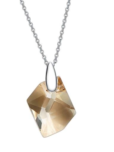 Simple Irregular Swarovski Crystal Pendant 925 Silver Necklace