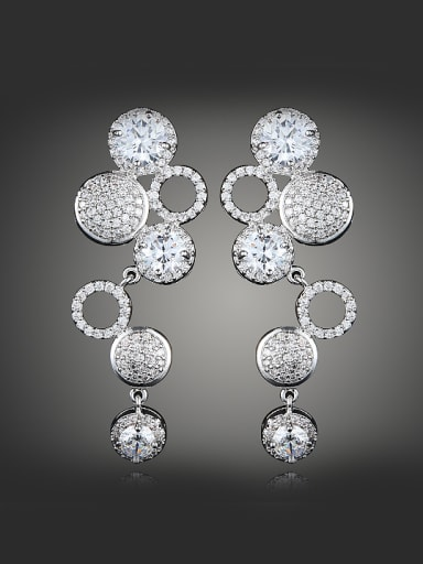 Fashion Little Round Stack Cubic Zirconias Copper Drop Earrings