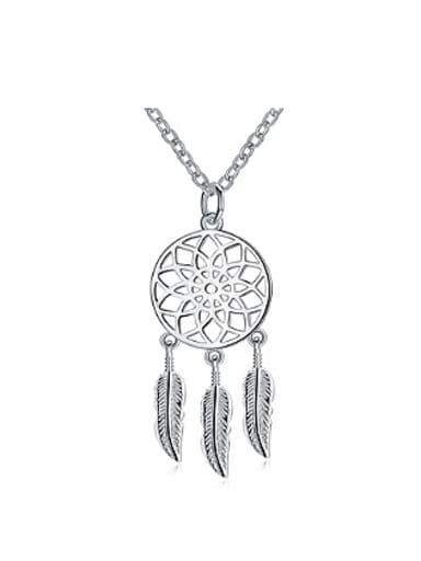 Fashion Hollow Round Feathers Necklace
