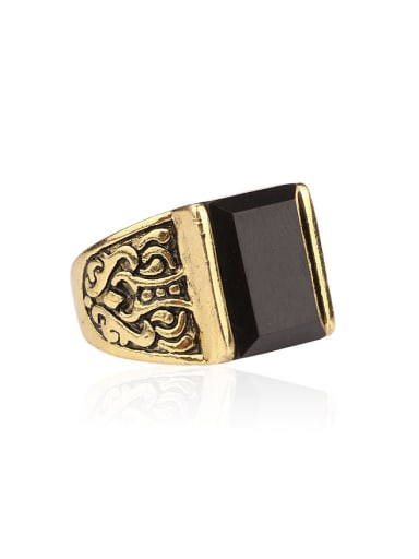 Retro style Black Resin stone Antique Gold Plated Alloy Ring
