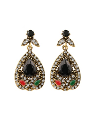 Ethnic style Water Drop Resin stones White Crystals Alloy Drop Earrings