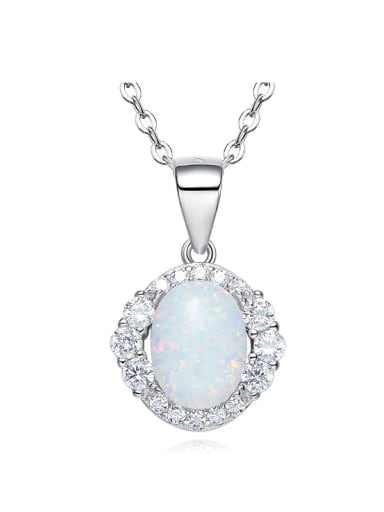 Fashion Oval Opal stone Cubic Zirconias 925 Silver Pendant