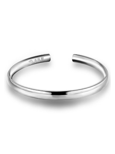Simple 990 Silver Polishing Opening Bangle