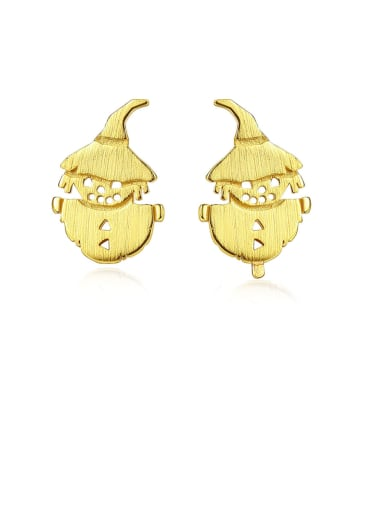 925 Sterling Silver With Gold Plated Cute Scarecrow  Stud Earrings