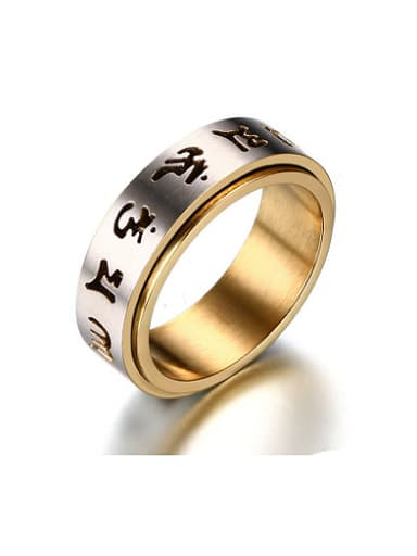 Personality Gold Plated Scripture Titanium Ring