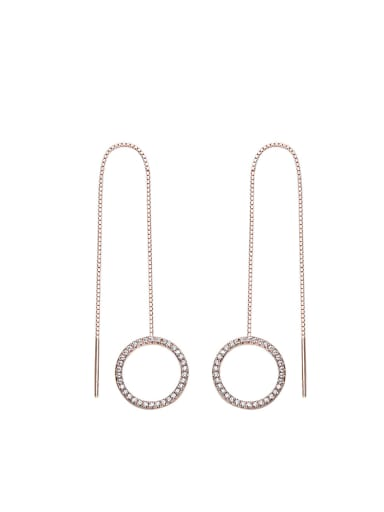 Simple Hollow Round Cubic Zircon Line Earrings
