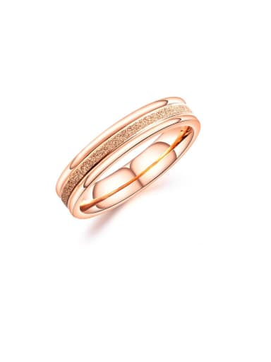 Stainless Steel With Rose Gold Plated Simplistic Round Band Rings