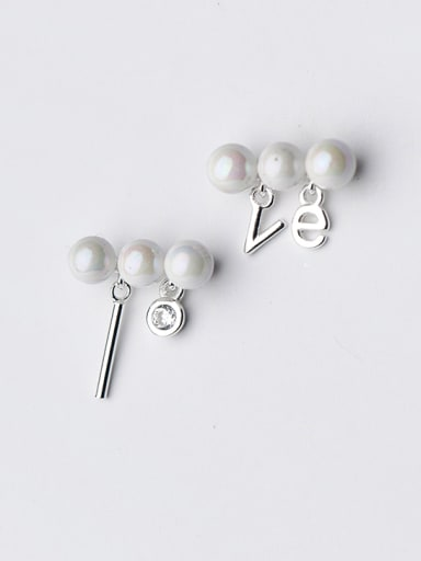 Elegant Asymmetric Pearl Monogrammed Shaped Stud Earrings