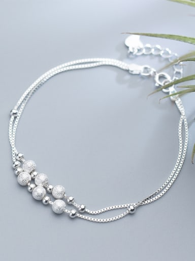 Adjustable Double Layer S925 Silver Frosted Beads Bracelet