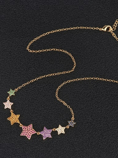 Copper With  Rhinestone Trendy Star Beaded Necklaces