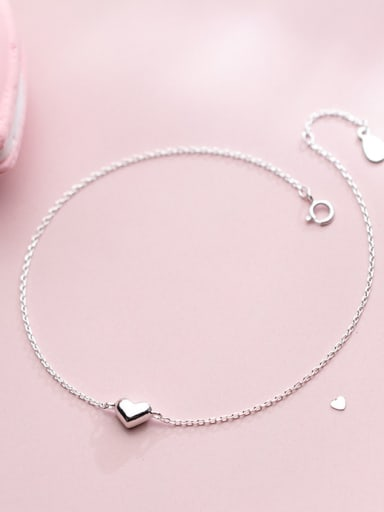 925 Sterling Silver With Platinum Plated Delicate Heart Anklets