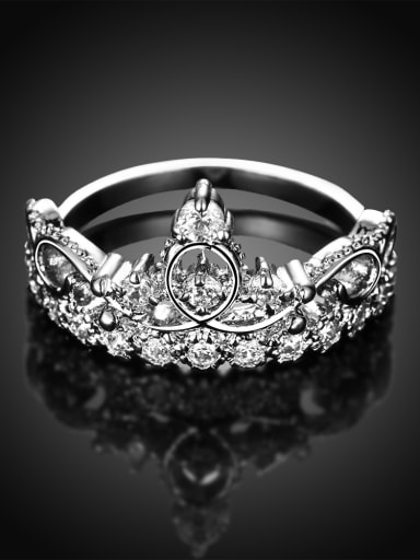 Exquisite Crown Shaped Zircon Platinum Plated Ring