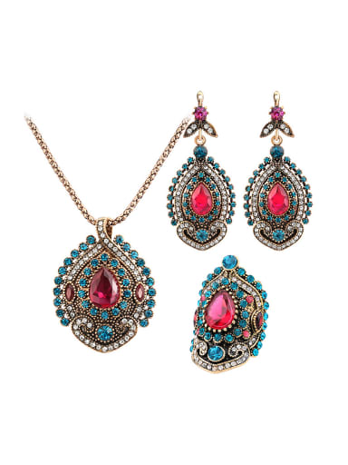 Retro Noble style Pink Resin stones Cubic Crystals Alloy Three Pieces Jewelry Set
