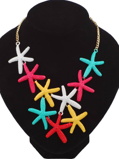 Exaggerated Personalized Starfishes Pendant Alloy Necklace