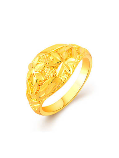 Luxury 24K Gold Plated Flower Pattern Copper Ring
