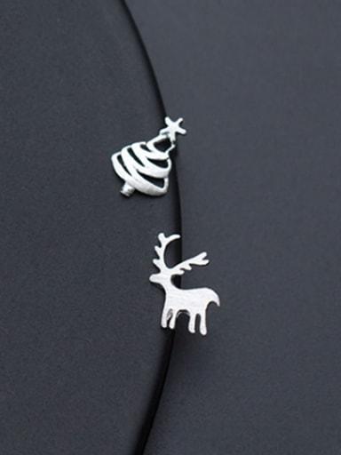 925 Sterling Silver With Platinum Plated Cute Elk Asymmetric Christmas Tree  Stud Earrings