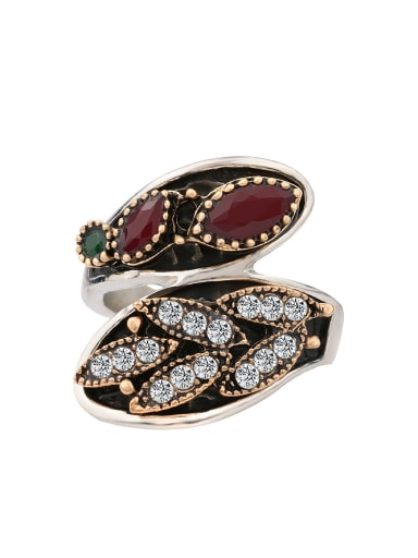 Retro style Ethnic Resin stone Crystals Alloy Ring