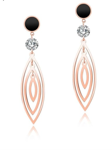 Stainless Steel With Rose Gold Plated Fashion Leaf Earrings