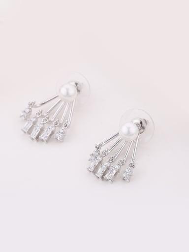 Fashion Imitation Pearl White Zirconias Copper Stud Earrings