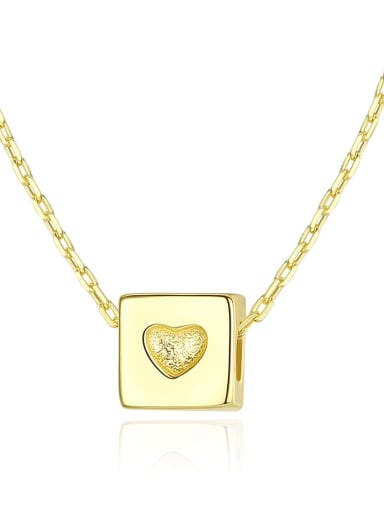 925 Sterling Silver With Glossy Simplistic Square heart Necklaces