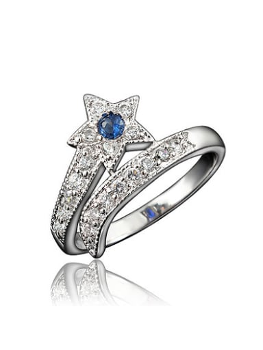 High Quality Blue Star Shaped 4A Zircon Ring