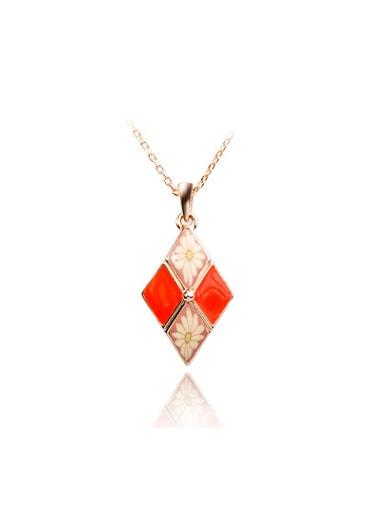 Women Trendy Diamond Shaped Enamel Necklace