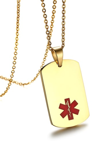 All-match Gold Plated Square Shaped Stainless Steel Necklace