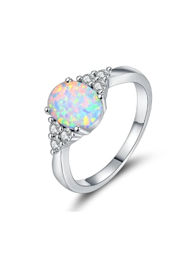 Oval Shaped White Gold Plated Alloy Ring