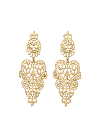 Alloy Gold Plated Hollow Flower-Shaped drop earring