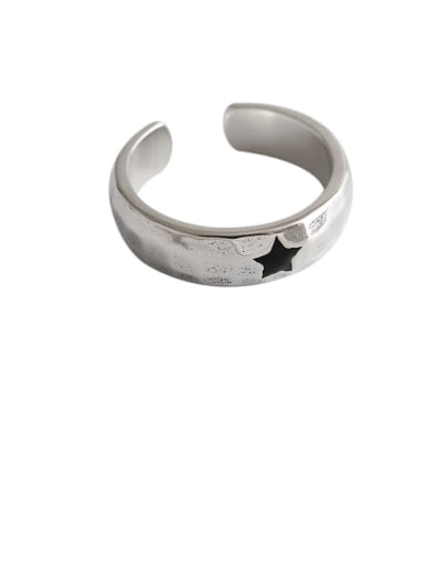 925 Sterling Silver With Antique Silver Plated Simplistic Star Free Size Rings