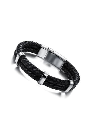 Simple Titanium Woven PU Chain Men Bracelet