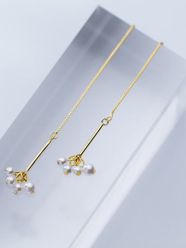 925 Sterling Silver With 18k Gold Plated Fashion Charm Artificial Pearl Threader Earrings
