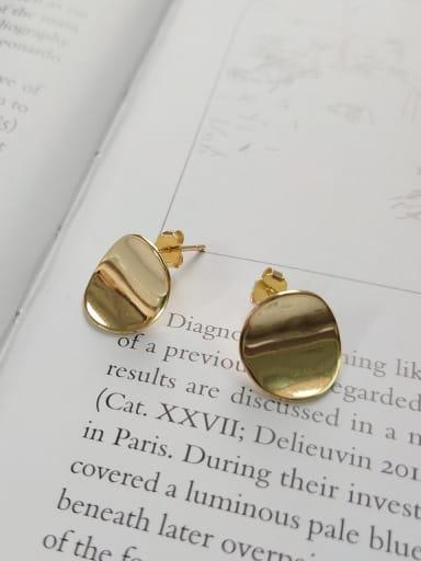 Sterling silver minimalist golden disc earrings