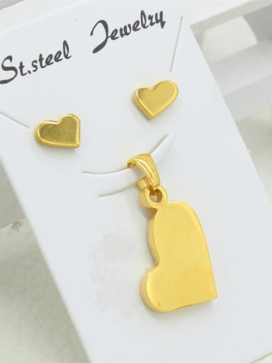 Heart Gold Plated Two Pieces Set