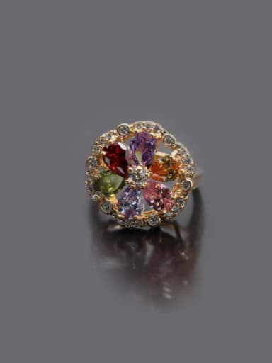 Gold Plated Colorful Zircons Statement Ring