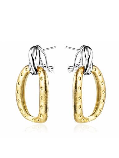 Vintage 18K Gold Plated Geometric Shaped Stud Earrings