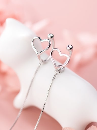 925 Sterling Silver With Platinum Plated Personality  Hollow Heart Threader Earrings