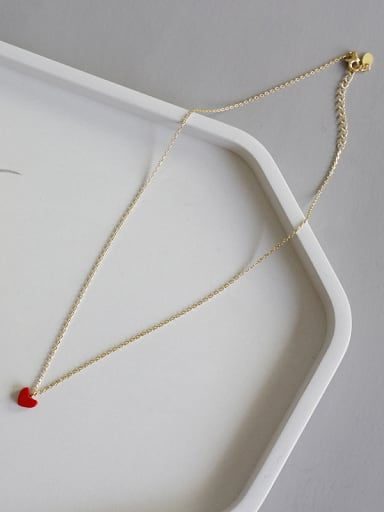 925 Sterling Silver With 18k Gold Plated Classic Redstone Locket Necklace
