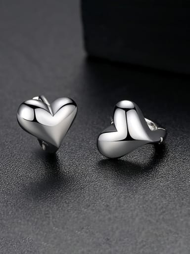Copper With White Gold Plated Cute Heart  Stud Earrings