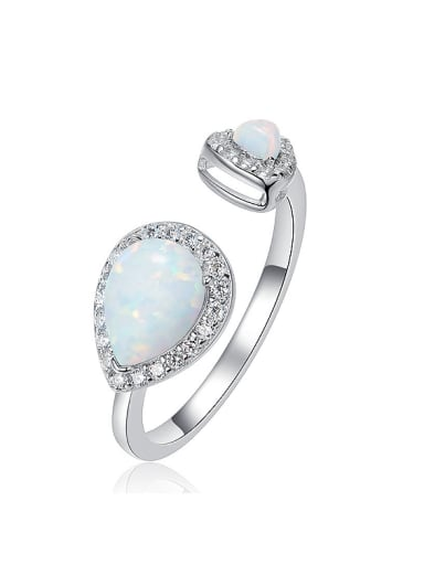 Fashion Water Drop Opal stones 925 Silver Opening Ring