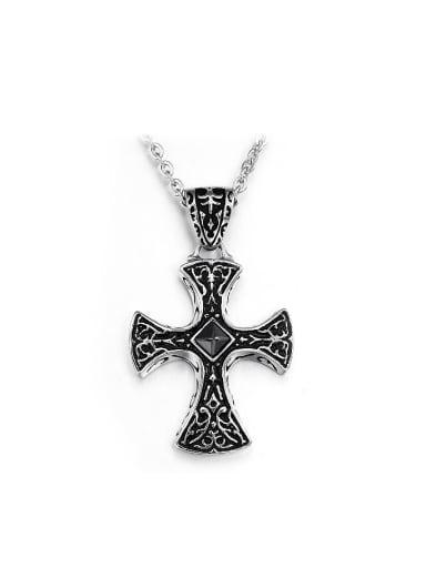 Punk style Black Cross Titanium Necklace