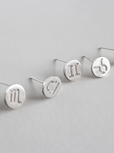 925 Sterling Silver With  Classic Round constellation Stud Earrings