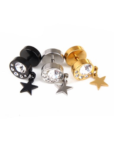 Stainless Steel With Gold Plated Personality Star Stud Earrings