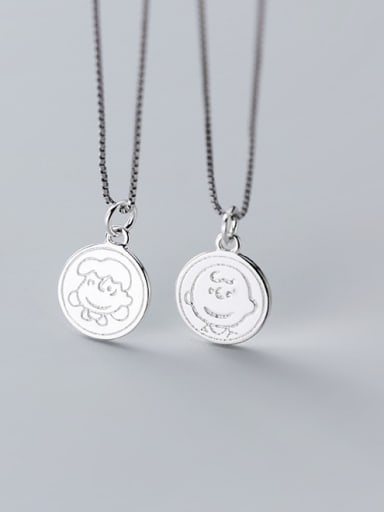 925 Sterling Silver With Platinum Plated Cartoon Round Pendants