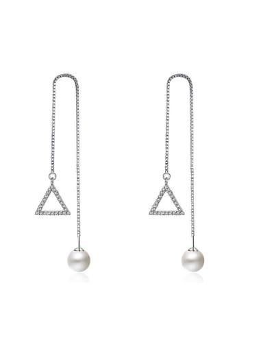 Simple Hollow Triangle Imitation Pearl Line Earrings